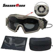 Tactical Eyewear Regulator Goggle Airsoft Motorcycle Glasses W/Fan & 2 Lens DE