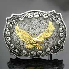 Western Antique Silver Engraved Flower Gold Bird of Prey 3D Eagle Belt Buckle
