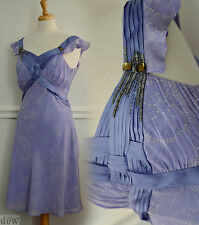 WHISTLES 100% silk TEA DRESS 1940's 30's art deco style flapper lilac BIAS 10