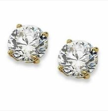 DIAMOND SOLITAIRE STUD EARRINGS 2 CT 10k YELLOW GOLD BRIDAL MOTHERS DAY APRIL
