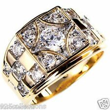 6 mm 1.45 Ct. April Clear CZ Birthstone Gold Plated Men's Ring Jewelry Size 15