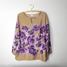 Jaclyn Smith XL beige purple floral peony garden long sleeve flowy blouse top