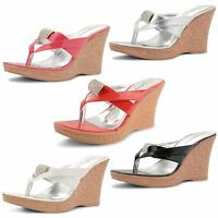 Womens Ladies Diamante Wedge High Heel Platform Slip On Sandals Flip Flops Size