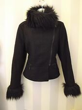 FRENCH CONNECTION Cashmere Wool Fur Collar Cuffs Winter Fitted Blogger Jacket 12