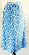 Vintage Aqua Blue and Cream Diamond Pattern Woven A-Line Midi Skirt Size Large