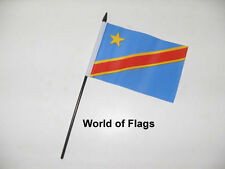"DEMOCRATIC REPUBLIC of CONGO SMALL HAND WAVING FLAG 6"" x 4"" Zaire Crafts Display"