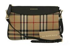 NEW BURBERRY HORSEFERRY CHECK BLACK LEATHER CROSS BODY CLUTCH BAG PURSE WRISTLET