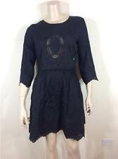 FAMOUS CATALOG $118 BATTENBURG LACE-INSET COTTON BLACK DRESS SZ 8