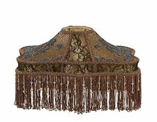 Victorian Fringed GWTW Beadwork & Stipple Embroidery Table Lamp Shade Silk