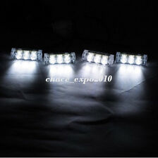4 X 3 LED 12V White Car Police Strobe Flash Light Emergency 3 Flashing Modes