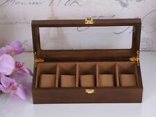 Watch Wooden Display Box Glass Lid Case/Trinket Gift Brown Watchbox