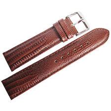 20mm deBeer Mens Havana Brown Teju Lizard-Grain Leather Watch Band Strap
