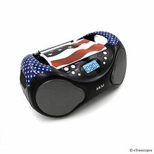 AKAI PORTABLE TOP LOADING CD PLAYER BOOMBOX FM RADIO LINE-IN USA FLAG NEW