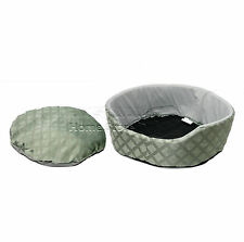 SMALL Round Soft Comfy Fabric & Foam Washable Dog Pet Cat Warm Basket Bed GREEN