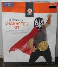 LUCHA LIBRE MEXICAN WRESTLER COSTUME Adult Men Mask Belt Cape Luchadores Kit NEW