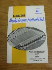02/11/1968 Rugby League Programme: Leeds v York  (folded). Condition: We aspire