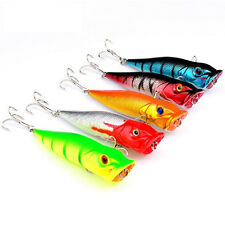 5pcs 9.5cm Poppers Popper Fishing Lures Topwater Crankbait Minnow Baits Tackle