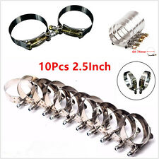 "10Pcs 2.5"" 64mm-74mm Stainless Steel T-Bolt Clamp Clip Secure Silicone Hose Pipe"