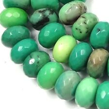 10x6mm Natural Green Chrysoprase Faceted Rondelle Beads (30)