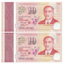 Singapore SG50 $10 banknotes - 2 runs  UNC  Nice Number 5BR067337-38 (SG-5)