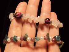 "pink quartz purple glass + green white agate pearl 7.5"" bracelet 2 bracelets"