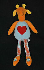 Peluche Doudou Girafe MARKS & SPENCER Bleu Orange Coeur Rouge 30 Cm TTBE