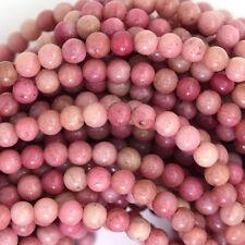 """4mm pink rhodonite round beads 15.5"""" strand"""