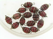 Vintage Silver Wire Spiral Cage Wrap Purple Oval Glass Bead Link Connector Lot