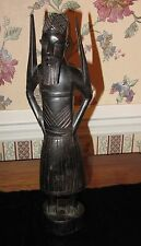 Hand Carved African Man Figure Black Ebony Wood Tribal Warrior 12.5""