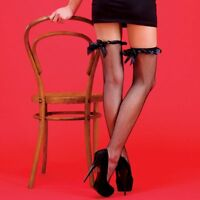 Fishnet Black Burlesque Ribbon Bow Hold-Up Seamed Stockings
