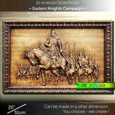 "20"" Eastern Knights Campaign 51cm Carved wood 3D picture art oil painting icon"