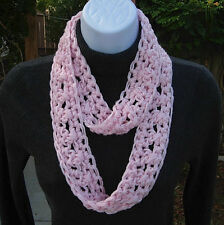 SUMMER SCARF Infinity Loop Solid Light Pink Small Narrow Lightweight Circle Cowl