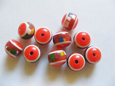 10 Round Acrylic/ Resin Beads - 12mm x 10mm - Red