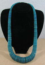 "Vintage Green Blue Graduated Coco Wheel Disc Bead 26"" Fashion Necklace"