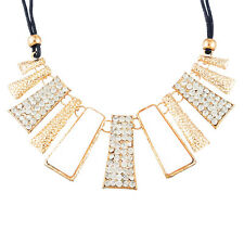 Womens White and Gold Geometric Design Statement Necklace - Ideal Little Gift