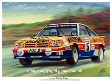 A3 ART PRINT - RUSSELL BROOKES - OPEL MANTA 400 - MANX RALLY  85