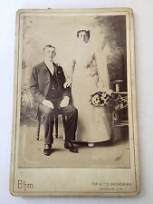 Antique B&W Cabinet Card Portrait Photograph, Wedding Man Woman Couple Bouquet