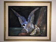 Insolito dipinto su feltro di un Uccello Da Preda e i suoi pulcini da H. hanah