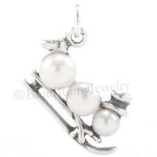 pearl FROSTY THE SNOW MAN w hat Charm Pendant 925 Sterling Silver CHRISTMAS sled