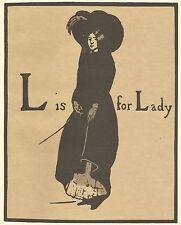 William NICHOLSON XILOGRAFIA STAMPA 1898 L è per Lady Alfabeto litografia 1975