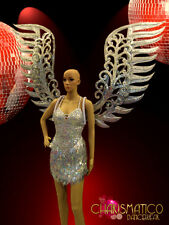 CHARISMATICO Large silver glitter angel wings with mirror and crystal accents