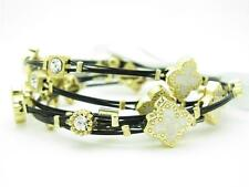 6 YELLOW GOLD STEEL TWO TONE STACKABLE CABLE BANGLE CREAM CLOVER BRACELETS GIFT