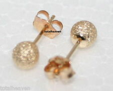 Solid 14K Yellow Gold 4mm BALL Stud Earrings SPARKLING Laser Cut