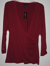 WHITE HOUSE BLACK MARKET XL NWTS JERSEY KNIT RED LUSCIOUS TOP BLOUSE-$24.00