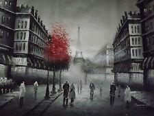 Dipinto Ad Olio Su Tela In Bianco e Nero Con Rosso Parigi Originale