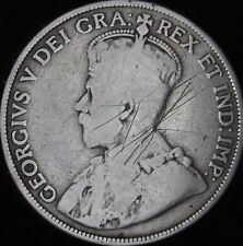 1912 VG Details Scratched Canada Silver 50 Cents (Fifty, Half) - KM# 25 - JG