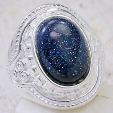 6Ct Blue Sand Quartz 925 Solid Sterling Silver Victorian Style Ring Size 8 GR560