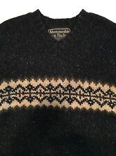 Mens Abercrombie & Fitch Charcoal Black 100% Wool V-Neck Nordic Heavy Sweater XL