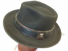 STACY ADAMS 100% WOOL TRILBY XL FEDORA L WOOL HAT 61cm BLACK/BROWN 7 5/8