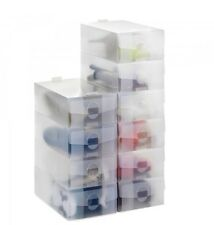20 X LADIES CLEAR PLASTIC FOLDABLE SHOE STORAGE SHOE ORGANISER SPACE SAVE BOXES
